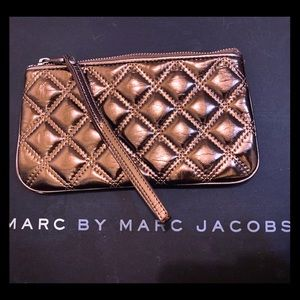 Marc Jacobs Bronze Quilted Patent Leather Wristlet